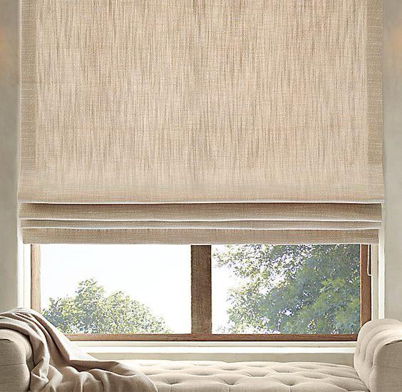 Perennials 174 Textured Linen Flat Roman Shade Nickie Decor