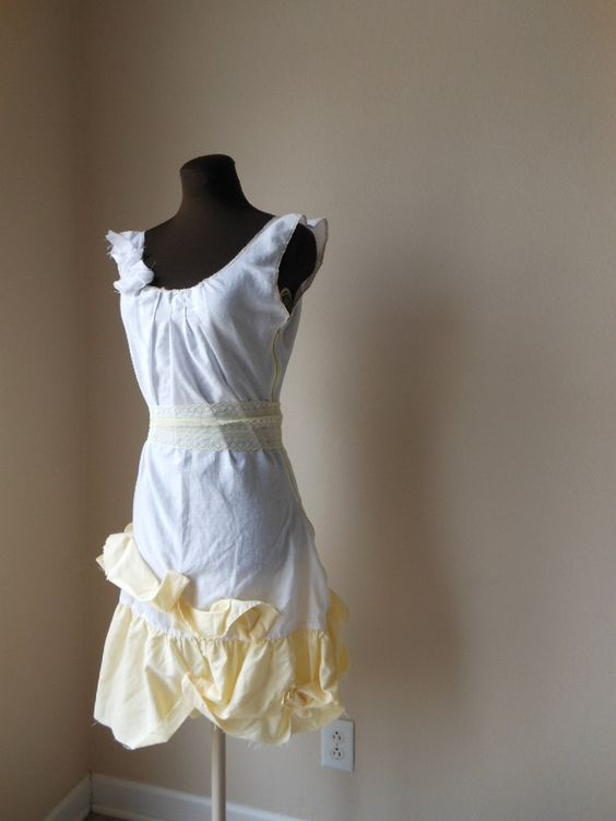 Shabby Chic Wedding Gown Gatsby 1920's Style White Flapper Drop Waist Tattered Yellow Cap Sleeves One of a Kind Romantic Dress Eco Friendly. $200.00, via Etsy.