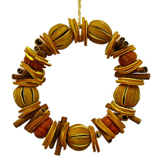 Wreath with Whole Oranges & Pumpkins, Orange Slices & Cinnamon Sticks - The Pink Monkey Company Ltd
