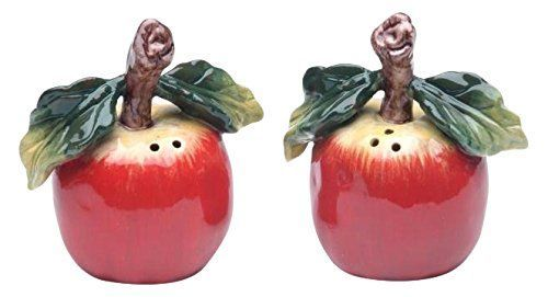 CG 10230 Red Apple with Stem and Leaf Salt and Pepper 2Piece Set Collectible * Additional details at the pin image, click it    Salt Pepper Shaker