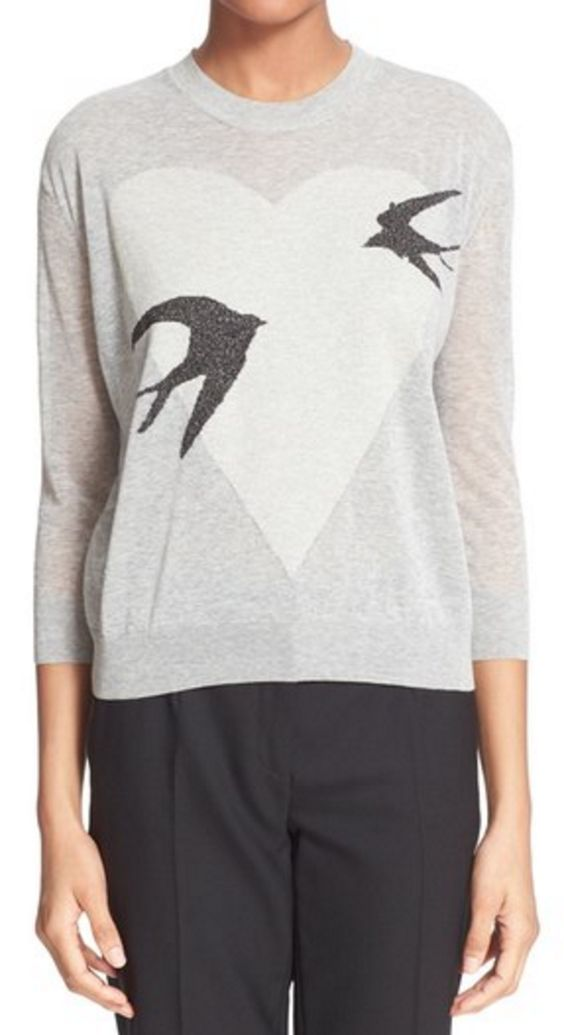 Swallow Heart Print Light Weight Sweater