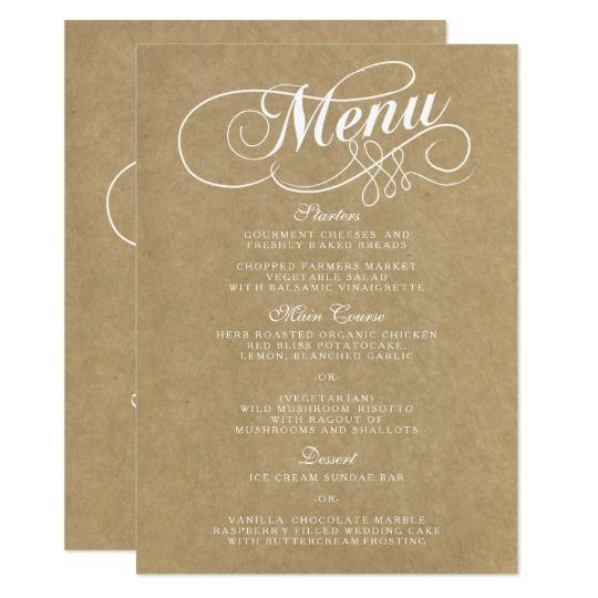 Elegante Kraftpapier Hochzeits Menu Vorlagen Menukarte Zazzle De Hochzeitsmenu Vorlage Kraftpapier Papier