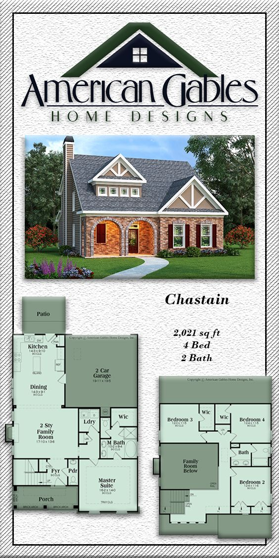 Tudor Plan 2021 Square Feet 4 Bedrooms 2 Bathrooms Chastain One Level House Plans Porch House Plans Vintage House Plans Modern tudor house plan