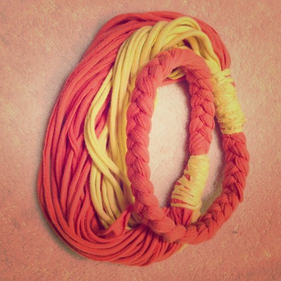 Orange Yellow Braided Statement t-shirt Necklace Bold and trendy handmade t-shirt necklace Jewelry Necklaces