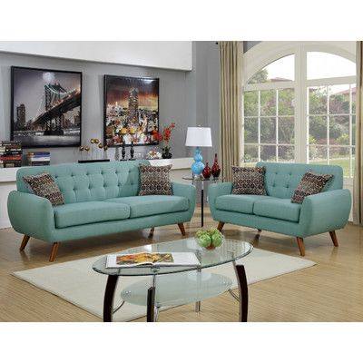 Infini Furnishings Modern Retro Sofa And Loveseat & Reviews