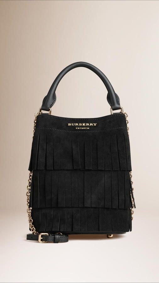 Burberry The Small Bucket Bag In Tiered Suede Fringing - $1,095.00