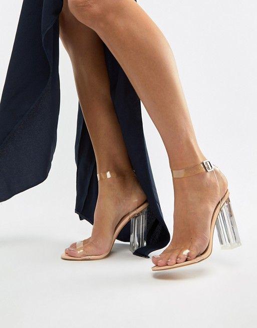 Boohoo barely there block heel sandals