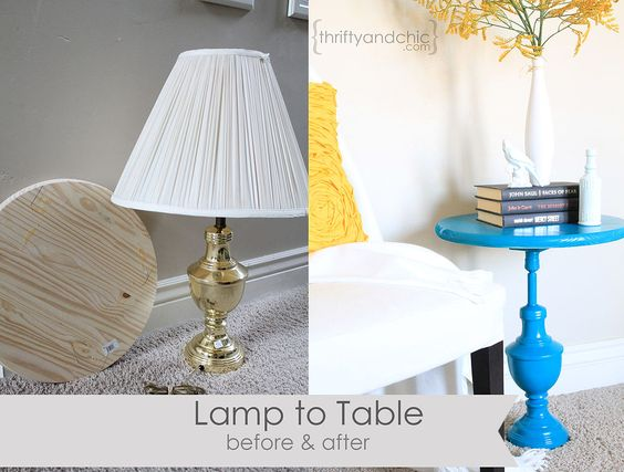 Hometalk :: Repurposing an old Lamp into a Table