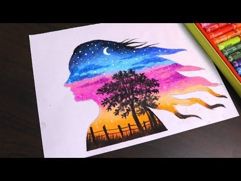 Oil Pastel Drawing For Beginners Beautiful Double Exposure
