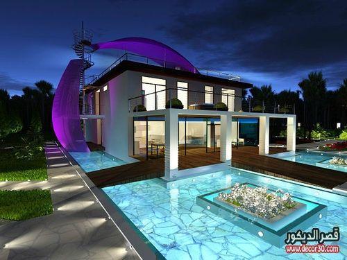 واجهات فلل حديثة في الامارات قصر الديكور Pool Houses Dream Pools Beautiful Pools