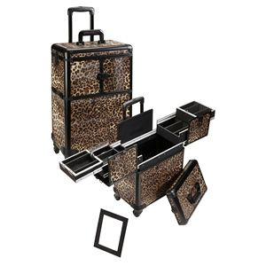 4 Wheel Spinner Rolling Makeup Case with 5 Trays  Leopard, only $129.95 plus free shipping!