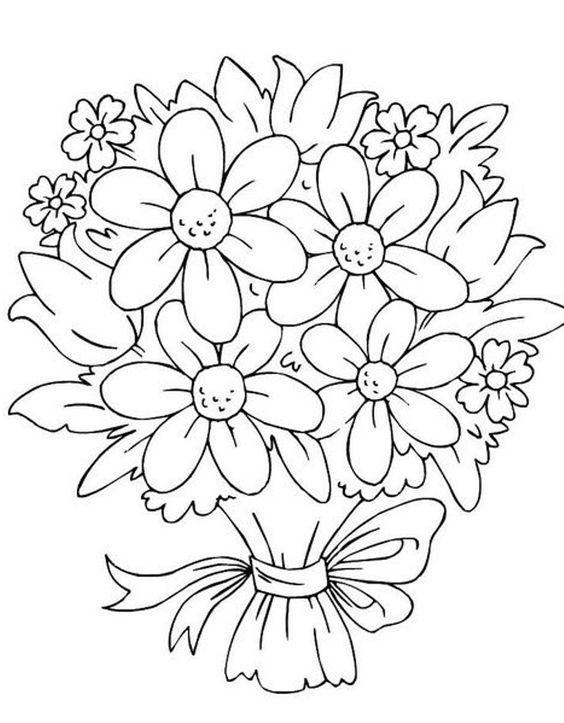 Flower coloring pages bouquet of flowers and coloring for Bouquet of flowers coloring page