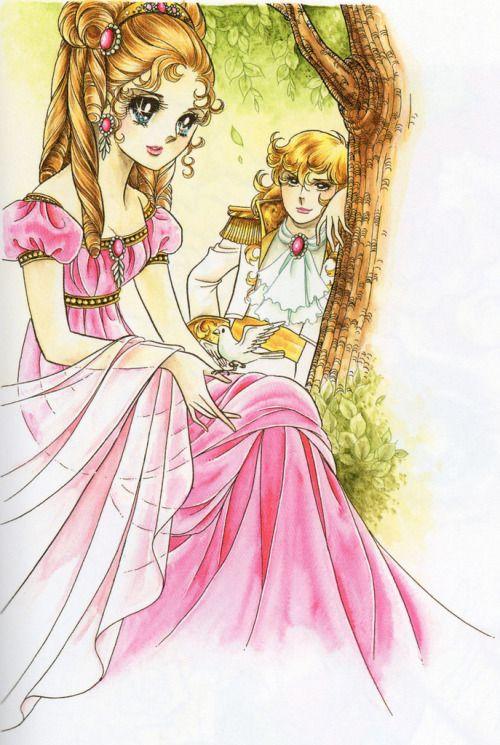 ピンクのドレスを着ているマリー・アントワネットと見つめるオスカルのベルサイユのばらの壁紙