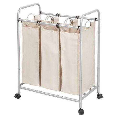Interdesign Laundry Sorter 3 Bag Silver Cream Laundry Sorter