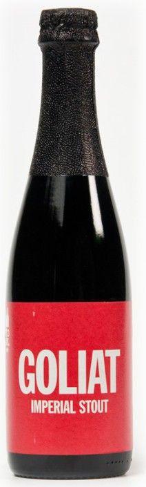 Cerveja Goliat, estilo American Stout, produzida por To Øl, Dinamarca. 10% ABV de álcool.