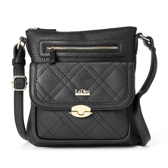 La Diva Quilted Crossbody Bag, Black