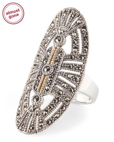 Sterling Silver With 14k Gold Accent Marcasite Knuckle Ring