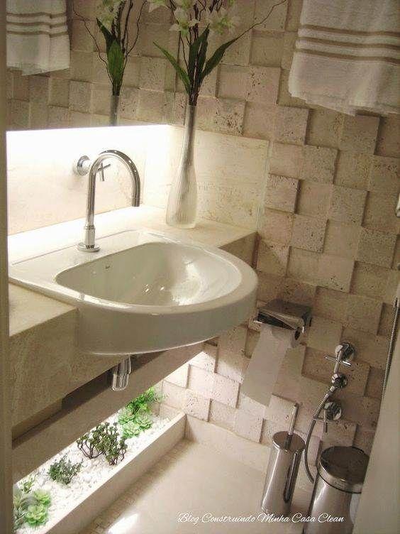 Bathrooms With Stylish Winter Garden Lavabo Pequeno Decoracao