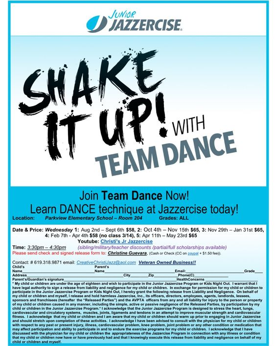 Montevalle Jr april 2016 class Jr Jazzercise Pinterest - location release form