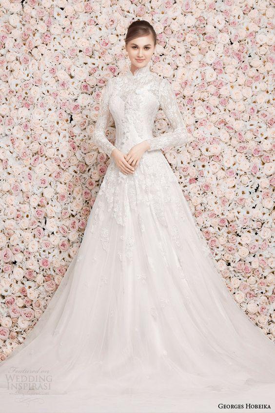 Georges Hobeika Bridal Spring 2014 Long Sleeve High Neck Modest Wedding Dress