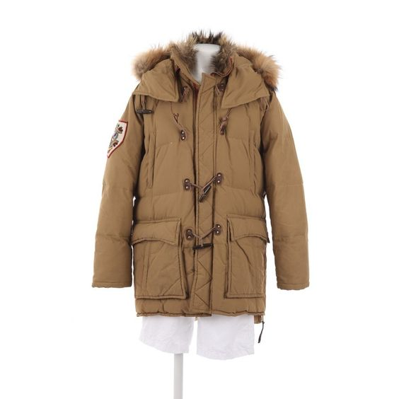 Cooler Wintermantel von Dsquared in Beige Gr. 50 - mit echtem Fell