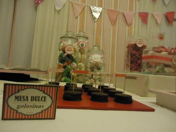 Cumple 1 año nena | alfajores de chocolate , cartel mesa dulce