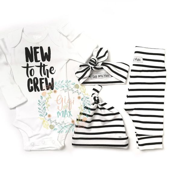 Newborn Baby Gender Neutral New to the Crew coming home outfit Black and White…