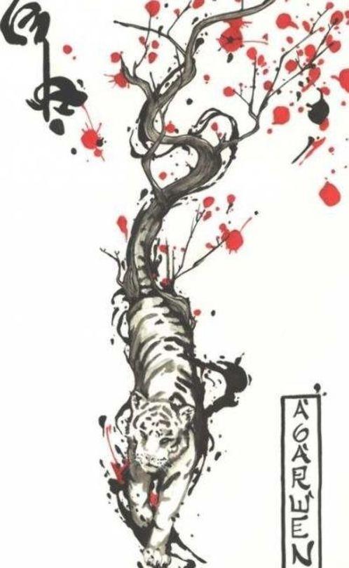 New Tattoo Watercolor Tree Of Life Cherry Blossoms 46 Ideas Tattoo Tiger Tattoo Design Tiger Tattoo Blossom Tattoo