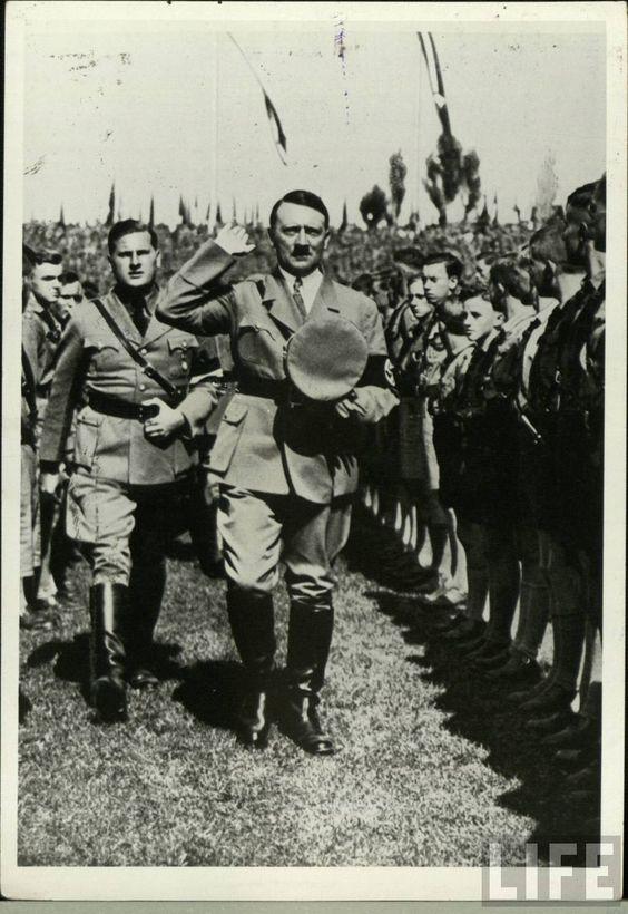 Hitler & Baldur von Schirach inspecting Hitlerjugend: