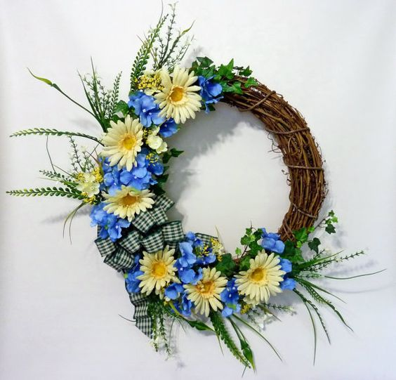 Daisy and Hydrangea Wreath Summer Wreath Front Door by Floralwoods, $50.00