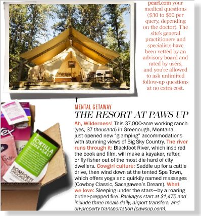 The Resort at Paws Up. Clipped from Marie Claire using Netpage.