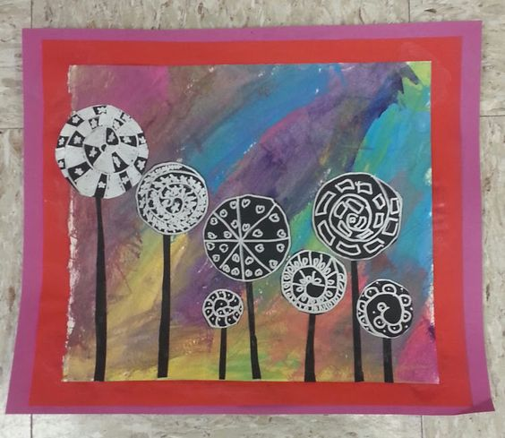 """Hundertwasser painted paper collage, with silver metallic pen on black construction paper.  By S., age 9  """"Art Around the World"""""""