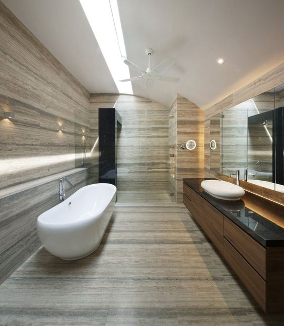 Bathroom 3 Modern Wind Vault House Displaying A Quirky Barn Like Roof In Singapore