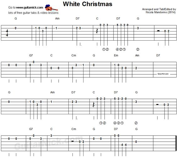 Tablature, Guitar and White christmas on Pinterest