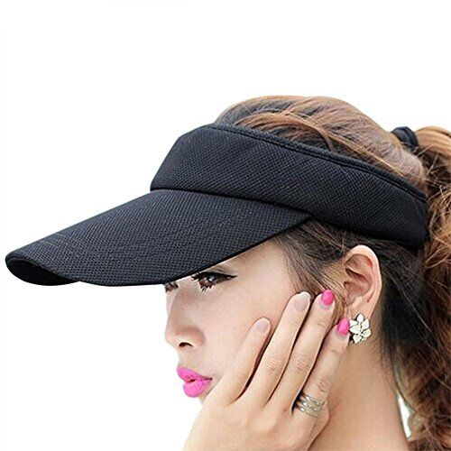 Lakhays Wide Brim Uv Protection Visor Sun Hat With Adjustable Strap Open Top Peaked Flat Hat Wide Brim Sun Hat Sun Hats Flat Hats