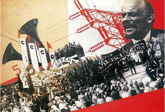 """Cartaz com fotomontagem exaltando Lenin e o partido Comunista: """"Resultado do primeiro plano quinquenal"""", feito por Varvara Stepanova em 1932"""