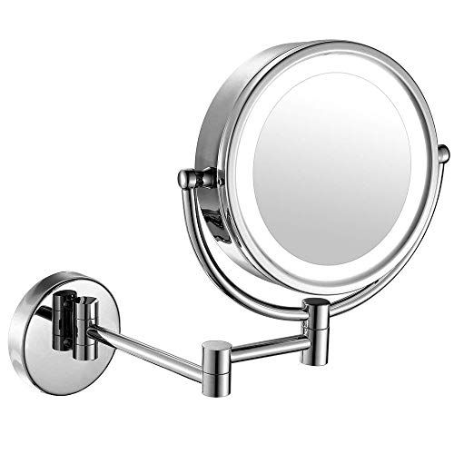 Moon Moon 7 Inch Led Lighted Wall Mount Makeup Mirror With 5x Magnification Double Sided Lig Wall Mounted Makeup Mirror Makeup Mirror With Lights Makeup Mirror