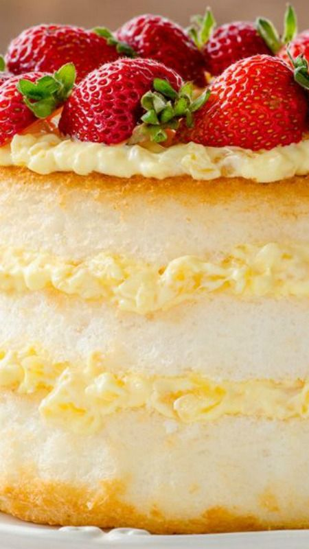 Angel Lush ~ Angel Food Cake Gets Layered with Fresh Strawberries and a Creamy Pineapple Filling.