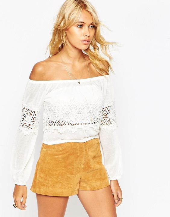 Want to stay in style? Then get this Asos Off Shoulder Top with Cotton Lace Trim on ShopStyle