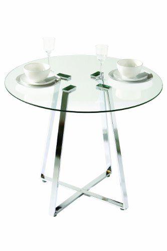 Premier housewares mesa de comedor de cristal redonda for Mesa jardin cristal amazon