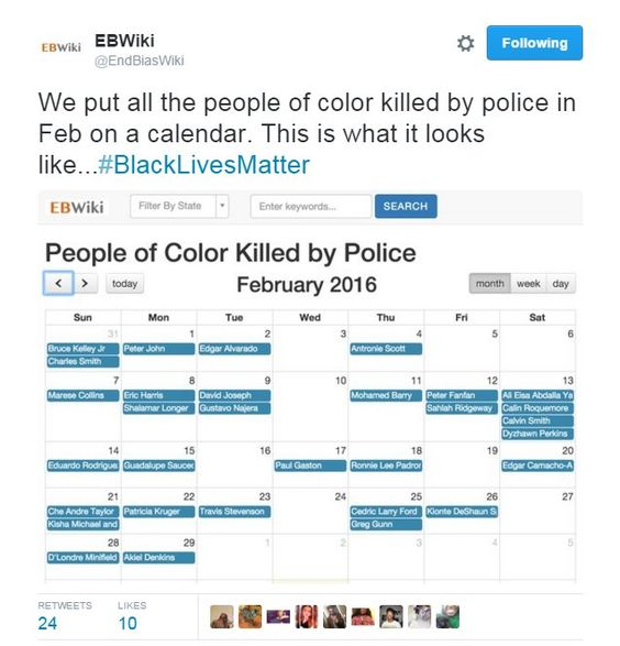 @ChrisJeffries24 : RT @4MySquad: All the people of color killed by cops in feb #Policestate #Policebrutality https://t.co/AZDpqzy0uS March 15 2016 at 11:17AM