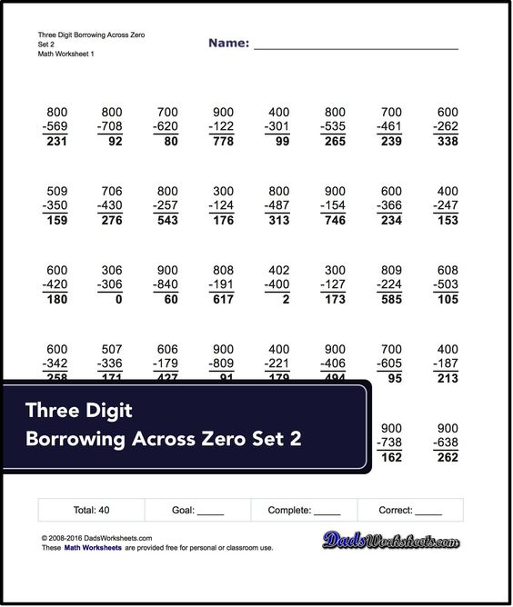 Subtraction Worksheets for Three Digit Borrowing Across Zero Set 2 ...