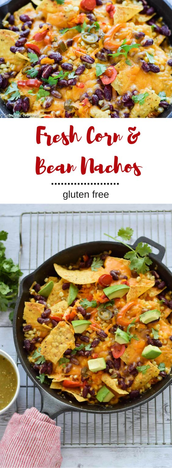 Your kids will love these Fresh Corn and Bean Nachos for dinner or an after-school snack.  Loaded with fresh summer corn, kidney beans, jalapenos, and cheese. They are impossible to resist. {gluten free}