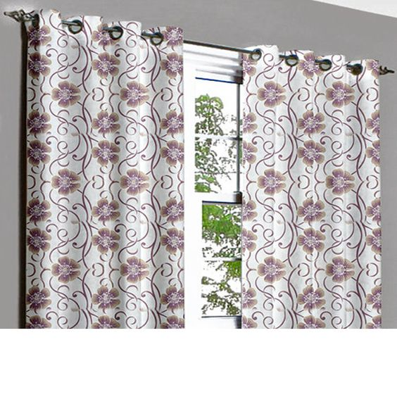 Purple Floral Bed Grommet Unlined Curtain in by TheHomeCentric