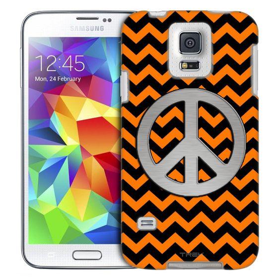 Samsung Galaxy S5 Peace on Chevron Zig Zag Orange Black Slim Case