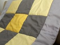 baby blanket, yellow and grey
