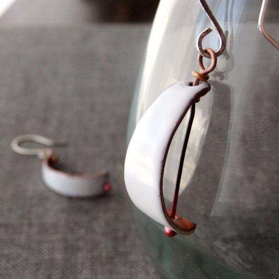 Enamel Earrings  Graceful Sails by KristopherChavez on Etsy, $29.00