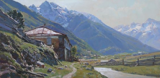 Road house painting 80x40 cm 2013 by aleksander babich realism acheter - Acheter des tableaux ...