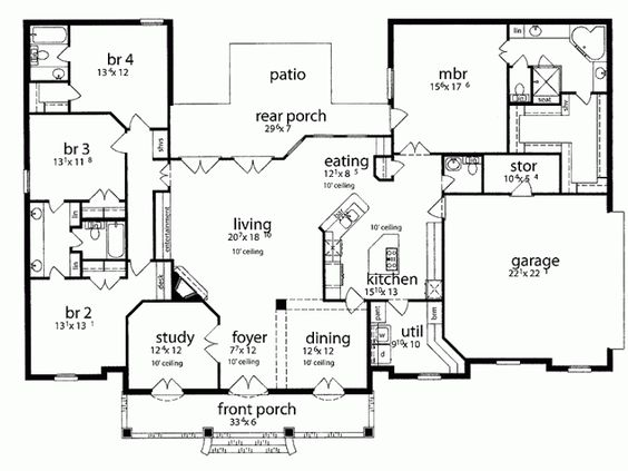 1 story house plans take off front dining room and study for French country house plans open floor plan