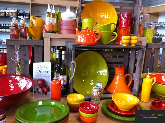 Collectively Artisan at Shackletons Home and Garden - we love these colourful ceramics (and so do celebrity chefs)!